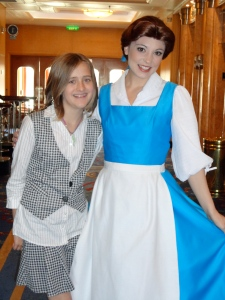 Here's our kid with Belle from Beauty and the Beast