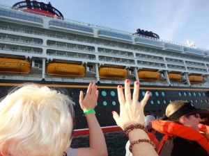 We wave good-bye to the big ship