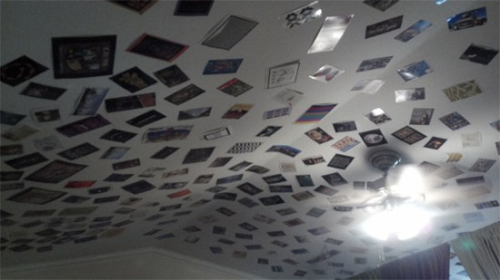 Postcards on my bedroom ceiling