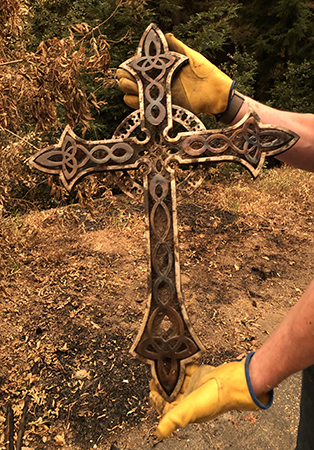 two and a half foot celtic cross made of metal